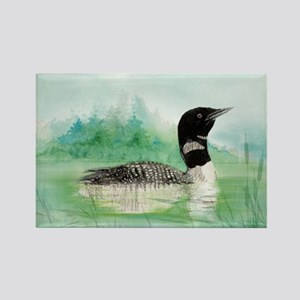 Watercolor Common Loon Bird Nature art Magnets