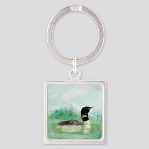 Watercolor Common Loon Bird Nature art Keychains