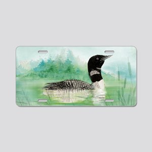 Watercolor Common Loon Bird Aluminum License Plate
