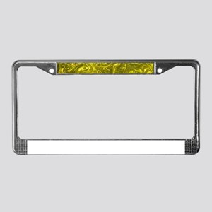 gold and green music notes License Plate Frame