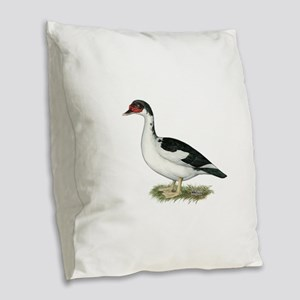 Muscovy Black Pied Duck Burlap Throw Pillow