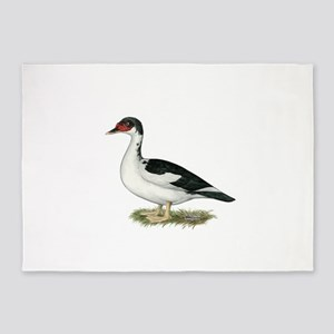 Muscovy Black Pied Duck 5'x7'Area Rug