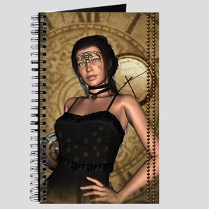 Steampunk lady with clocks and gears Journal