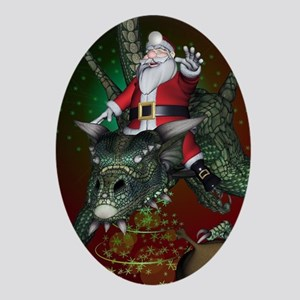 Funny Santa Claus flying with a dragon Oval Orname