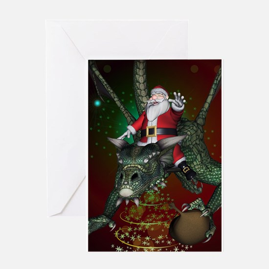 Funny Santa Claus flying with a dragon Greeting Ca