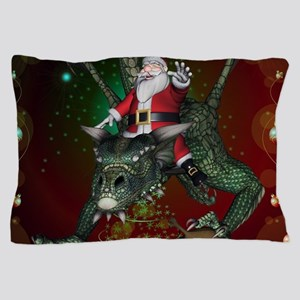 Funny Santa Claus flying with a dragon Pillow Case