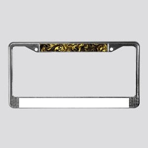 black and gold License Plate Frame