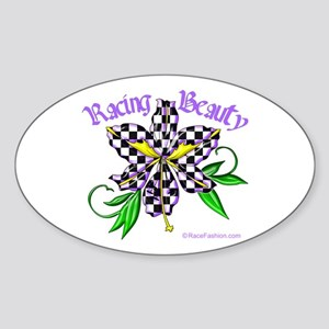 Racing Beauty Oval Sticker