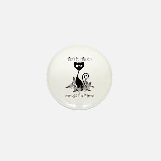 Cat Amoungst Pigeons Mini Button (10 pack)