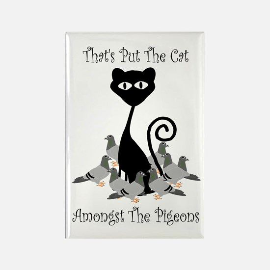 Cat Amoungst Pigeons Magnets