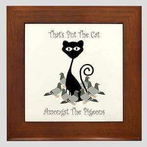 Cat Amoungst Pigeons Framed Tile