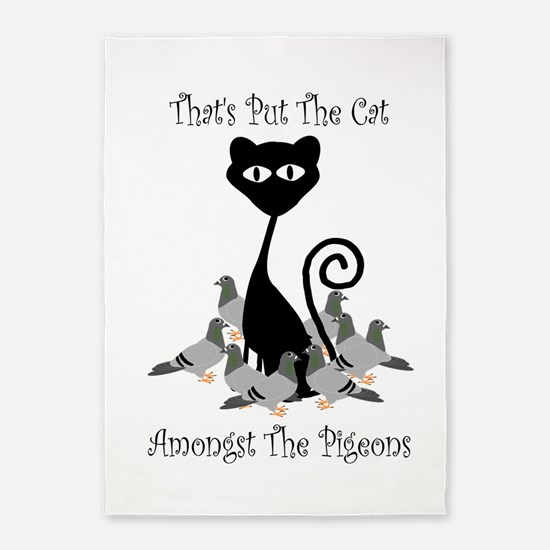 Cat Amoungst Pigeons 5'x7'Area Rug