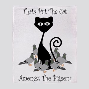 Cat Amoungst Pigeons Throw Blanket