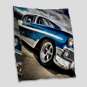 Retro car Burlap Throw Pillow