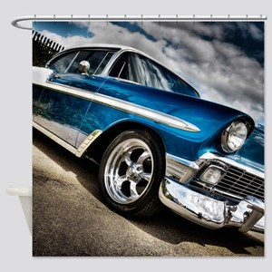 Retro car Shower Curtain
