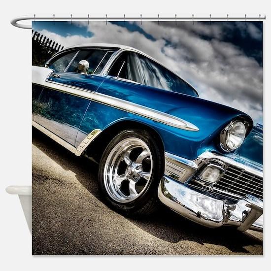 Retro car Shower Curtain