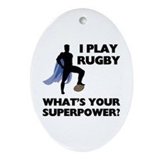 Rugby Superhero Oval Ornament