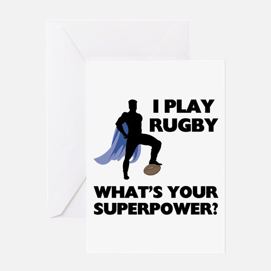 Rugby Superhero Greeting Card