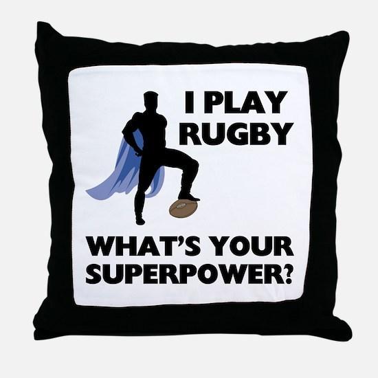 Rugby Superhero Throw Pillow