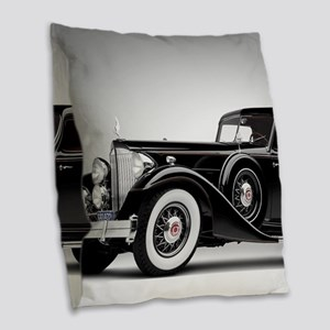 Vintage Retro Car Burlap Throw Pillow