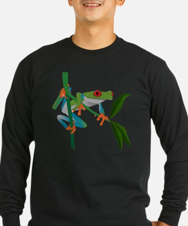 red eyed tree frog - black Long Sleeve T-Shirt