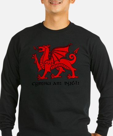 dragon_red_cymru_am_byth_slogan Long Sleeve T-Shir