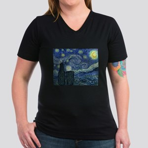 Beery Night Women's V-Neck Dark T-Shirt