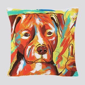 "Pitbull ""Peace"" Woven Throw Pillow"