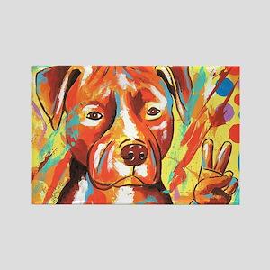 """Pitbull """"Peace"""" Rectangle Magnet"""