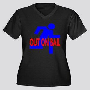 Out On Bail Women's Plus Size V-Neck Dark T-Shirt