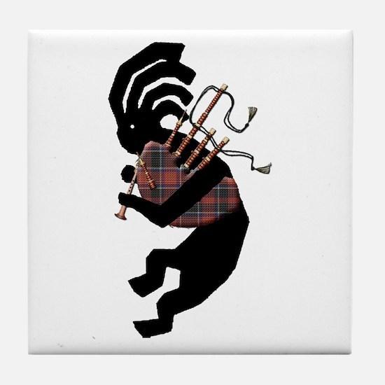 Kokopelli Bagpipes Tile Coaster