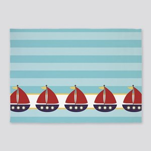Red, Navy Sailboat Pattern 5'x7'Area Rug