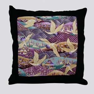 Flying Crane Fabric Throw Pillow