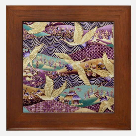 Flying Crane Fabric Framed Tile