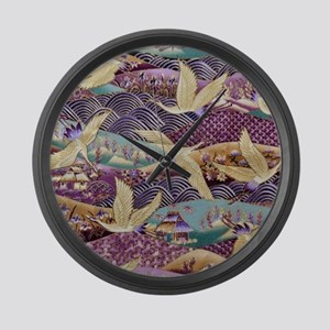 Flying Crane Fabric Large Wall Clock