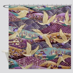 Flying Crane Fabric Shower Curtain