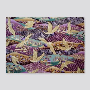 Flying Crane Fabric 5'x7'Area Rug