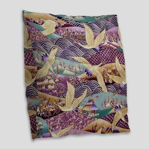 Flying Crane Fabric Burlap Throw Pillow