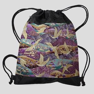 Flying Crane Fabric Drawstring Bag