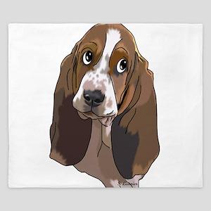 Cute Basset Hound Pup Art Print King Duvet