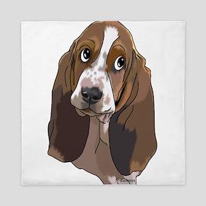Cute Basset Hound Pup Art Print Queen Duvet
