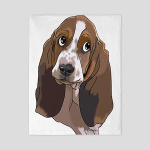 Cute Basset Hound Pup Art Print Twin Duvet