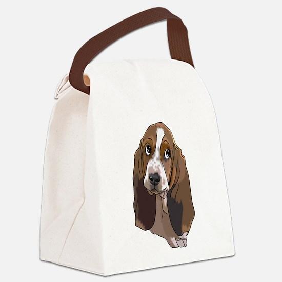 Cute Basset Hound Pup Art Print Canvas Lunch Bag