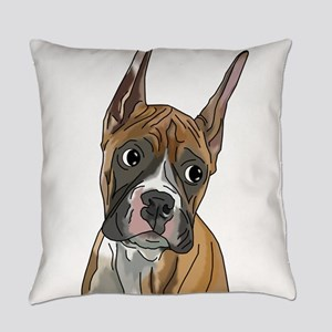 Perky Boxer Dog Portrait Everyday Pillow