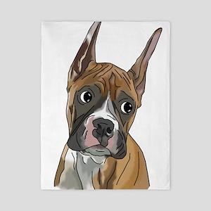 Perky Boxer Dog Portrait Twin Duvet