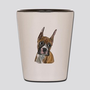 Perky Boxer Dog Portrait Shot Glass