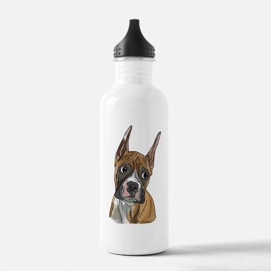 Perky Boxer Dog Portrait Water Bottle
