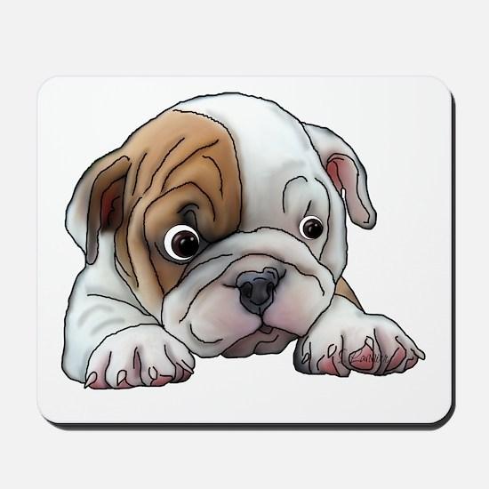 Bulldog Puppy Art Portrait Mousepad