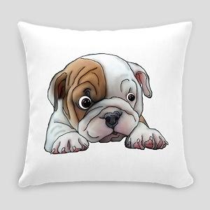 Bulldog Puppy Art Portrait Everyday Pillow