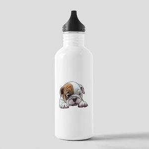 Bulldog Puppy Art Portrait Water Bottle